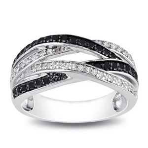 Infinity Black & White Sapphire 925 Silver Ring